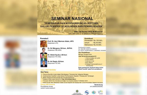 Pamflet seminar nasional Jurusan Sejarah Fakultas Ilmu Sosial, Universitas Negeri Malang (UM), saat belum ditunda. (Istimewa)
