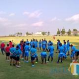 Skuad Arema FC ketika menjalani latihan di Lapangan Agrokusuma, Batu. (Hendra Saputra)