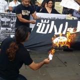 Ilustrasi aksi pembakaran bendera ISIS (Istimewa)