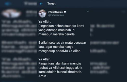 Cuitan Fahri Hamzah (@fahrihamzah) di twitter pada Rabu (31/10/2018) pagi.