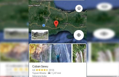 Screenshot peta satelit Coban Sewu