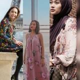 Maia Estianty, Awkarin, dan Indah Nada Puspita mengenakan busana floral