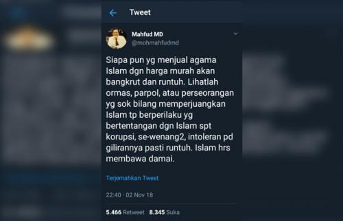 Cuitan Mahfud MD di Twitter (@mahfudmd)