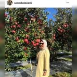 Wali Kota Batu Dewanti Rumpoko saat berada di salah satu kebun apel di Fukushima Jepang beberapa saat lalu. (foto: ig @rumpokodewanti)