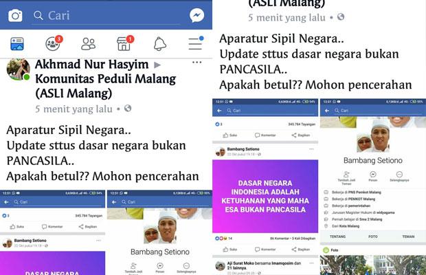 Tangkapan layar unggahan warganet terkait status Facebook salah satu pegawai negeri Pemkot Malang yang menuliskan bahwa dasar negara bukan Pancasila. (Foto: Dokumen MalangTIMES)