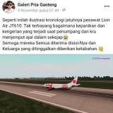 Ilustrasi jatuhnya pesawat Lion Air JT610 (Facebook).