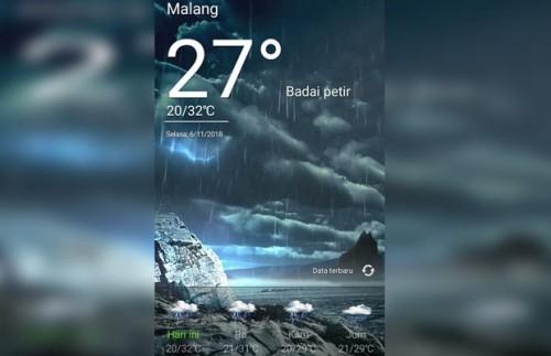 Prakiraan cuaca di Malang melalui aplikasi smartphone