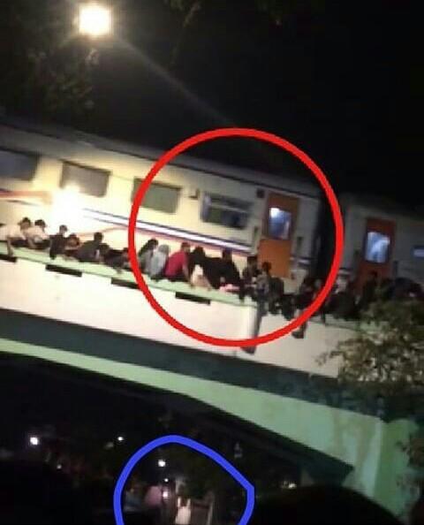 Sosok yang dilingkari yang membuat warganet heboh dalam tragedi Surabaya Membara.(screenshot @insiden_surabaya)