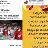 Tangkapan layar unggahan status milik PNS Kota Malang, Bambang Setiono di Facebook yang diduga sebagai bentuk dukungan untuk Prabowo. (Foto: Dokumen MalangTIMES)