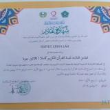 Piagam Juara 3 Musabaqah Hifdzil Quran Tingkat ASEAN yang diterima Hafidz Abdullah. (Foto: Pawitra/JatimTIMES)