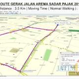 Rute kegiatan Gebyar Jalan Sehat Arema Sadar Pajak V 2018 yang berlangsung 25 November mendatang. (Foto: Dokumen MalangTIMES)