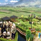 Para pengunjung saat sedang swafoto di spot berbentuk cinta area Cafe Sawah Desa Wisata Pujon Kidul Kabupaten Malang. (Foto: Irsya Richa/MalangTIMES)