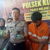 Pelaku kejahatan penipuan bermodus perkenalan di Facebook yang diamankan petugas Polsek Klojen, Kota Malang. (Foto: Nurlayla Ratri/MalangTIMES)