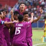 Persik Kediri usai mencetak gol ke gawang Persekam Metro FC. (eko Arif s /JatimTimes)
