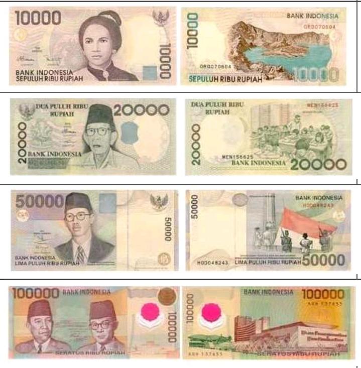 Empat uang kertas emisi 1998 - 1999 yang di tarik BI. (foto: ist BI)