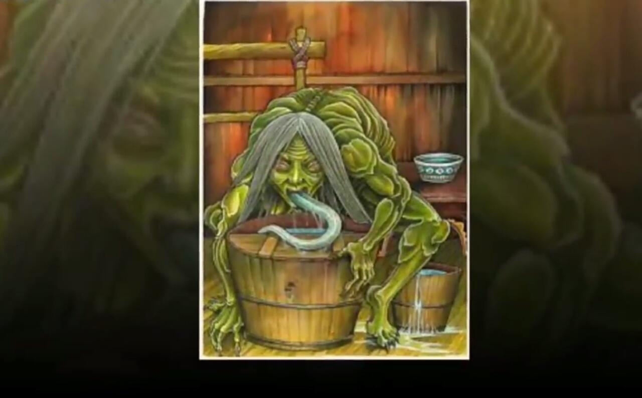 Setan orang tua renta yang mencelupkan kakinya ke air untuk di campuran kuah makanan (repro aurelia ND)