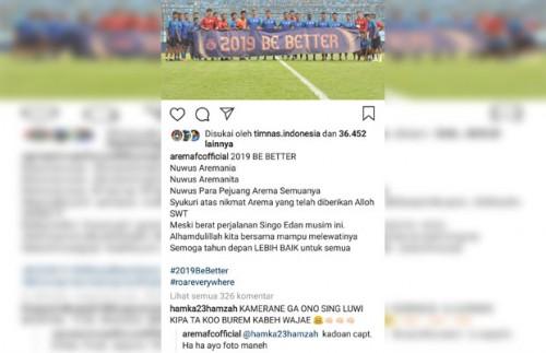 Screenshot postingan akun Instagram @aremafcofficial