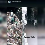 Tangkapan layar unggahan Wali Kota Malang Sutiaji yang memperlihatkan kondisi saluran air sebelum dan sesudah pembersihan oleh pasukan abu-abu atau Unit Reaksi Cepat DPUPR Kota Malang. (Foto: Dokumen MalangTIMES)