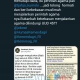 Screenshot akun twitter warganet yang protes atas Instruksi Kemendagri