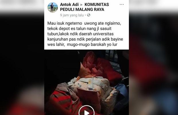 Tangkapan layar unggahan di Facebook terkait peristiwa perempuan melahirkan di dalam mobil Grab di Kota Malang. (Foto: Dokumen MalangTIMES)