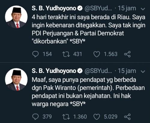 Cuitan Ketua Umum Partai Demokrat, Susilo Bambang Yudhoyono (SBY) melalui akun resmi twitternya