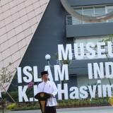 Presiden Joko Widodo saat memberikan pidato kenegaraan pada peresmian Museum Islam Indonesia KH Hasyim Asy