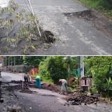 Kondisi jalan penghubung antara Candi Badut dan Kelaseman menuju Kelurahan Karang Besuki yang rusak (foto atas) dan dilaporkan salah satu anggota grup Whatsapp Sharing JTN pada (22/12/2018) kemarin,  hari ini (23/12/2018) langsung ditangani secara cepat oleh Pemkot Malang (foto bawah).