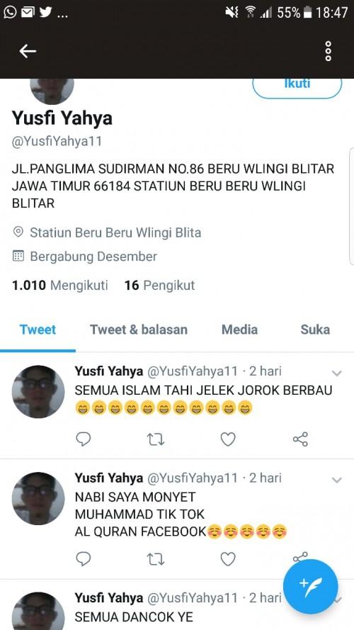 Beberapa unggahan akun Twitter @YusfiYahya11