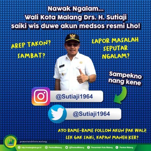 Kabar baru, Wali Kota Malang Sutiaji kini miliki akun resmi di media sosial) (istimewa)