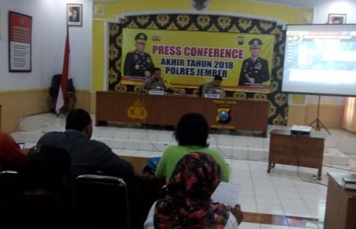 Kapolres Jember AKBP. Kusworo Wibowo saat memimpin Anev di ruang Rupatama Mapolres Jember
