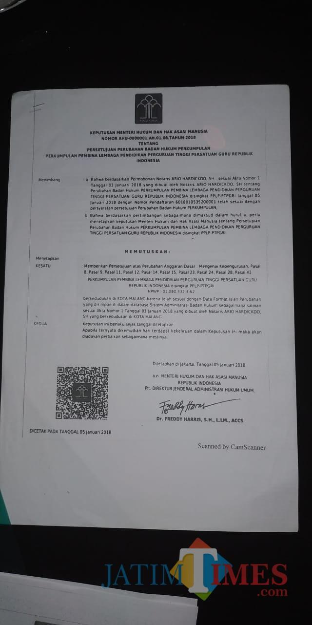 SK perubahan  atas SK dari pihak Christea. (Anggara Sudiongko/MalangTIMES)