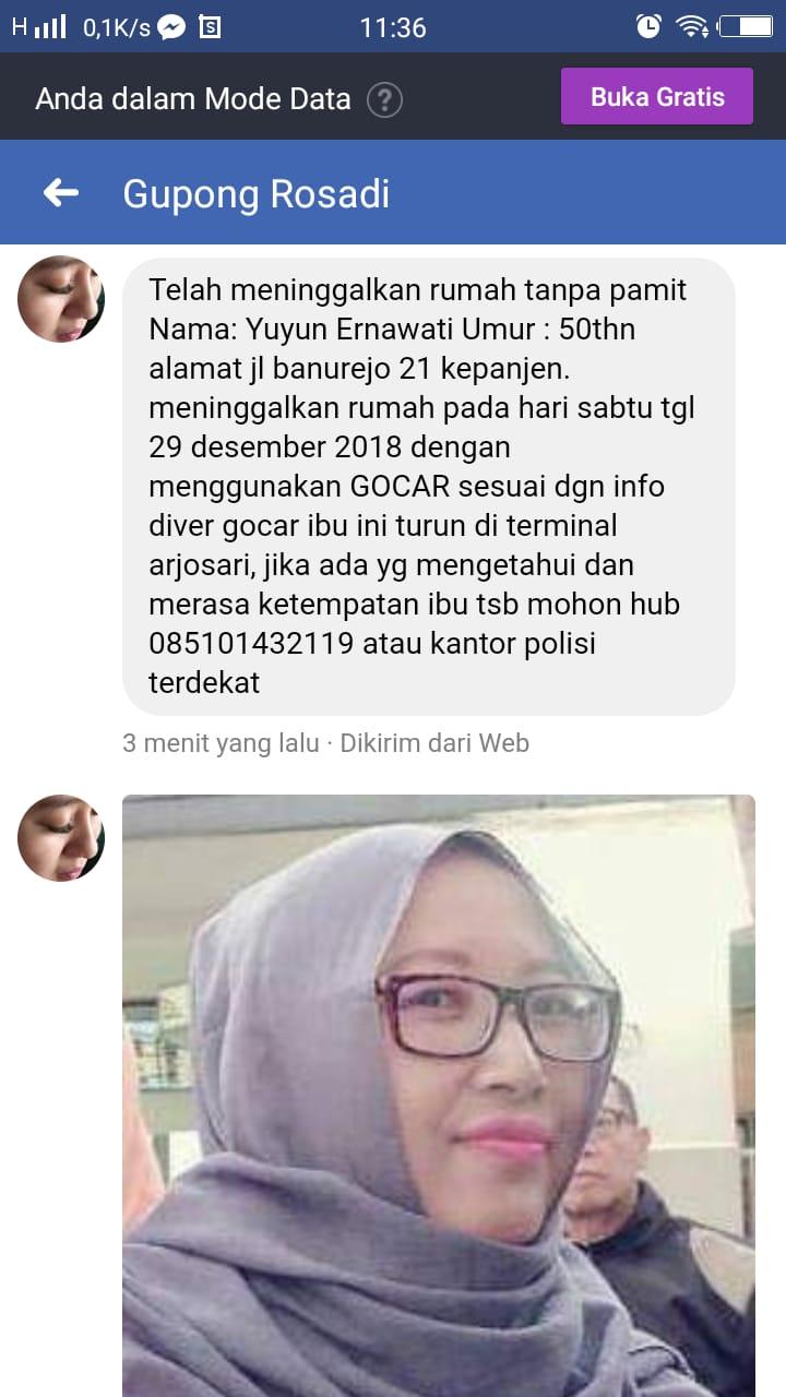 Screnshoot postingan keluarga orang hilang yang di unggah ke media sosial, Kabupaten Malang (Foto : Facebook)
