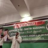Gubernur Jatim terpilih Khofifah Indar Parawansa saat memimpin deklarasi dukungan terhadap Jokowi-Ma