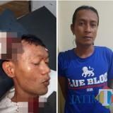Idrus tersangka penganiayaan (kanan) saat diamankan polisi, beserta Susianto korban penganiayaan (kiri) saat menjalani perawatan, Kecamatan Pakisaji (Foto : Polsek Pakisaji for MalangTIMES)
