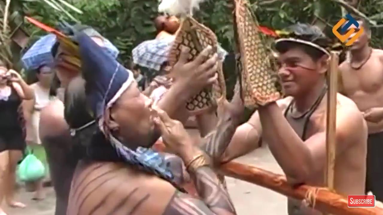 Remaja Suku Satere-Mawe menari dengan menggunakan sarung tangan berisi semut peluru. (Sidul Tube)