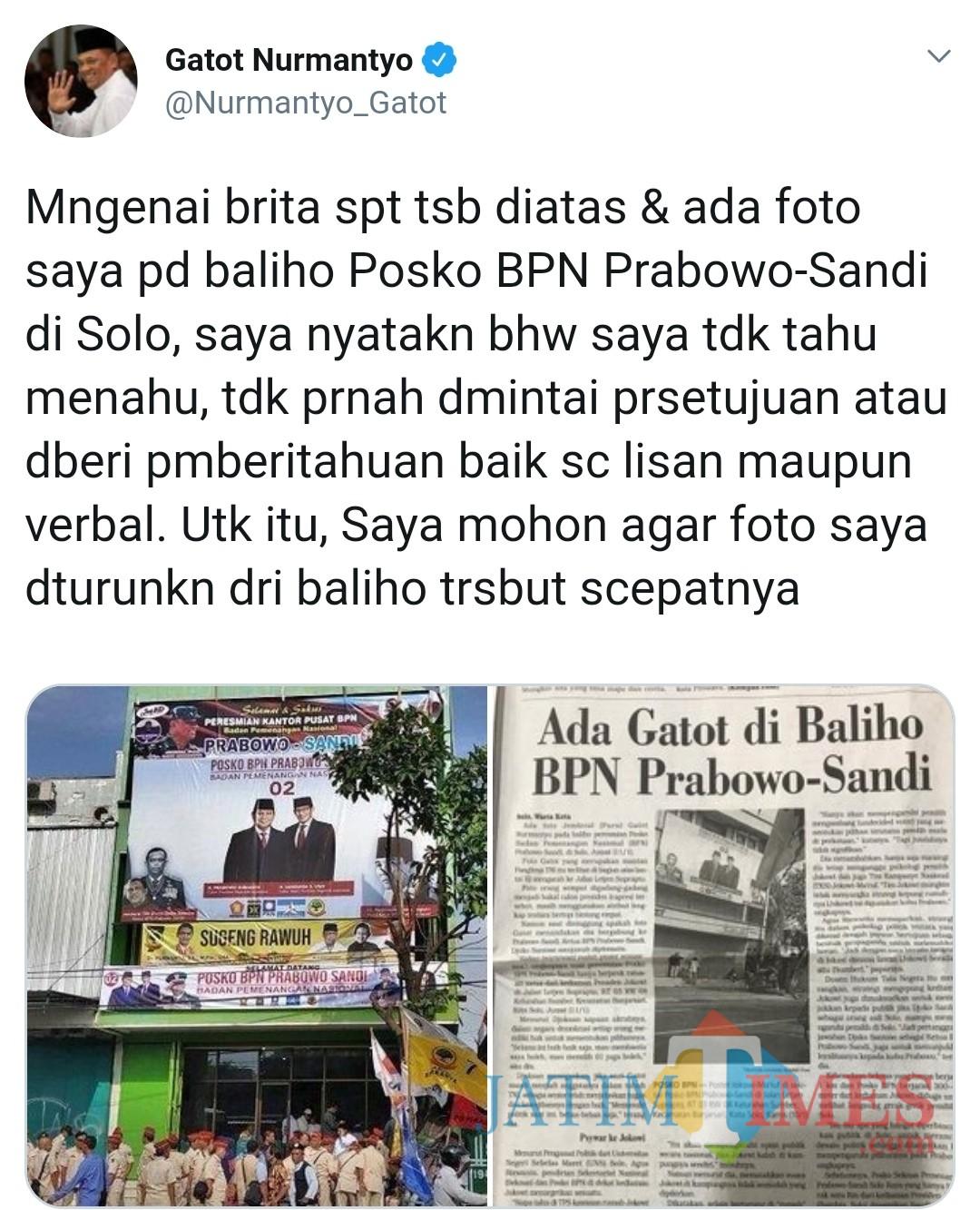 Screenshot akun Gatot Nurmantyo yang menuai protes warganet pendukung Prabowo-Sandi