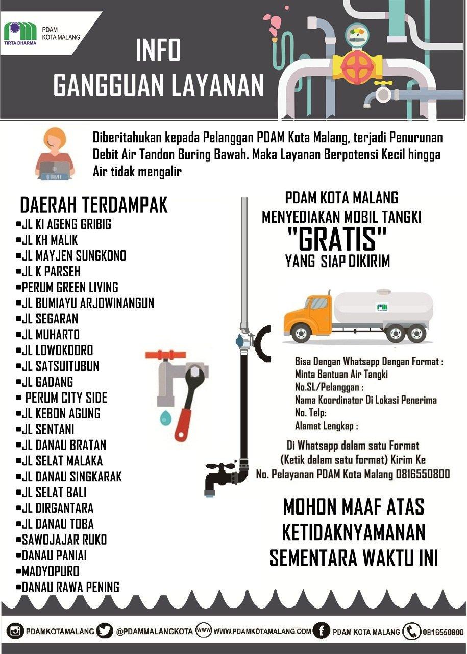 Pengumuman gangguan aliran air dari PDAM Kota Malang yang disampaikan melalui cuitannya di twitter. (@pdammalangkota).