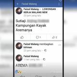 Tulisan akun Faizal Malang di Facebook yang menyebut Wali Kota Malang Setiaji kampungan (Facebook)