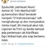 Sempat merasa geram, Mahfud MD tunda laporan kepada pihak berwajib setelah ada permintaan maaf dari akun IG yang sempat mencatut namanya. (twitter)