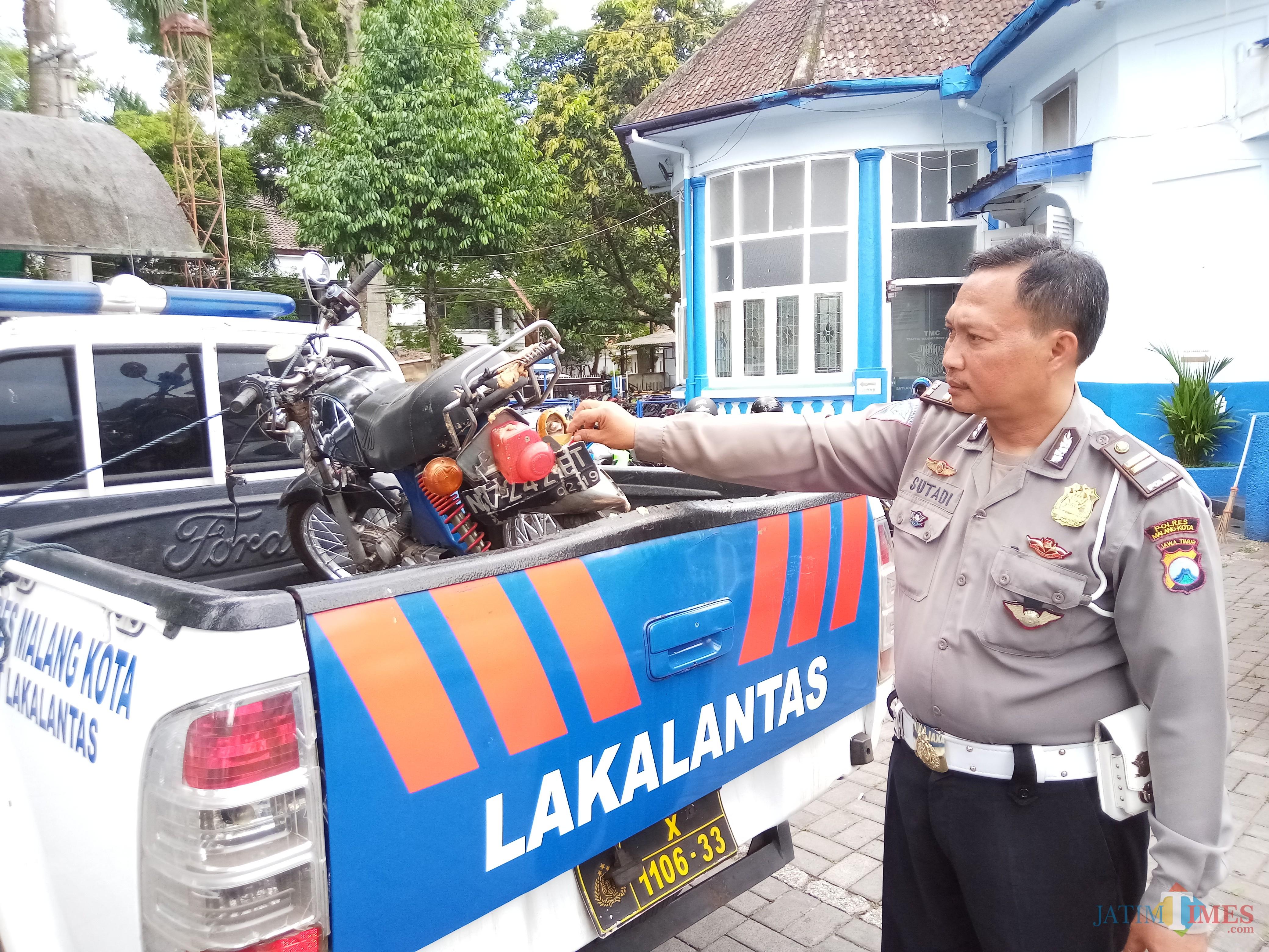 Sepeda motor korban yang diamankan di Unit Laka Polres Malang Kota (Anggara Sudiongko/MalangTIMES)
