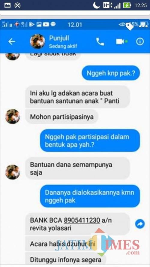 Gambar messengger percakapan akun palsu Punjull dengan salah satu rekan Wakil Wali Kota Batu.