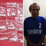 Wasis alias buluk tersangka beserta barang bukti pil double L saat diamankan polisi, Kecamatan Kalipare (Foto : Polsek Kalipare for MalangTIMES)