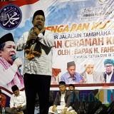 Wakil Ketua DPR Fahri Hamzah memberikan ceramah kebangsaan dalam lawatannya ke Pondok Pesantren Al-Ishlah di Desa Dadapan, Kabupaten Bondowoso, Jawa Timur, Sabtu 2/2/2019 malam