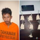 Imam Febrianto tersangka beserta barang bukti pil koplo saat diamankan petugas kepolisian, Kabupaten Malang (Polsek Gondanglegi for MalangTIMES)