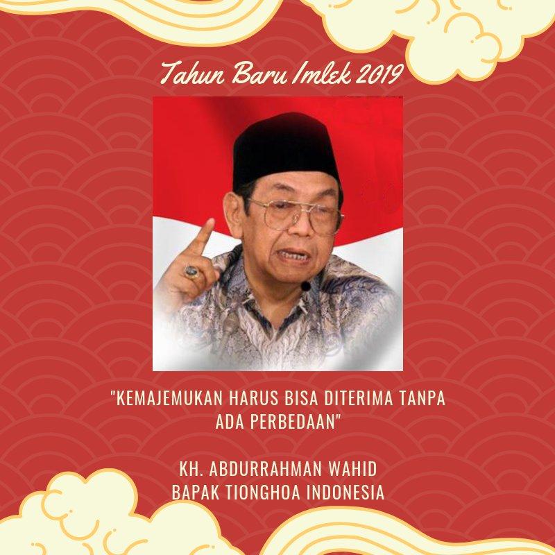 Gus Dur dikenal sebagai Bapak Tionghoa Indonesia. (@twitter)