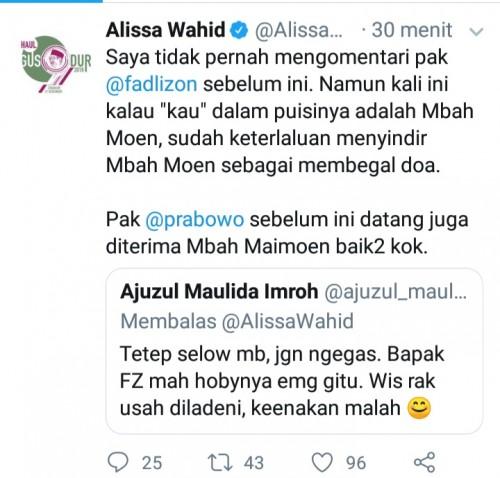 Komentar Alissa Wahid di Twitter terkait puisi buatan Fadli Zon. (twitter)