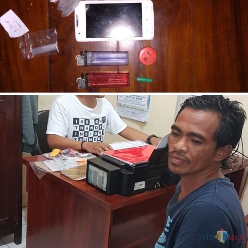 Mustakim tersangka beserta barang bukti berupa narkoba jenis sabu, saat diamankan polisi, Kecamatan Turen (Foto : Polsek Turen for MalangTIMES)