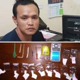 Tersangka Edi Santoso beserta barang bukti sabu saat diamankan polisi.(Foto : Polsek Turen for MalangTIMES)