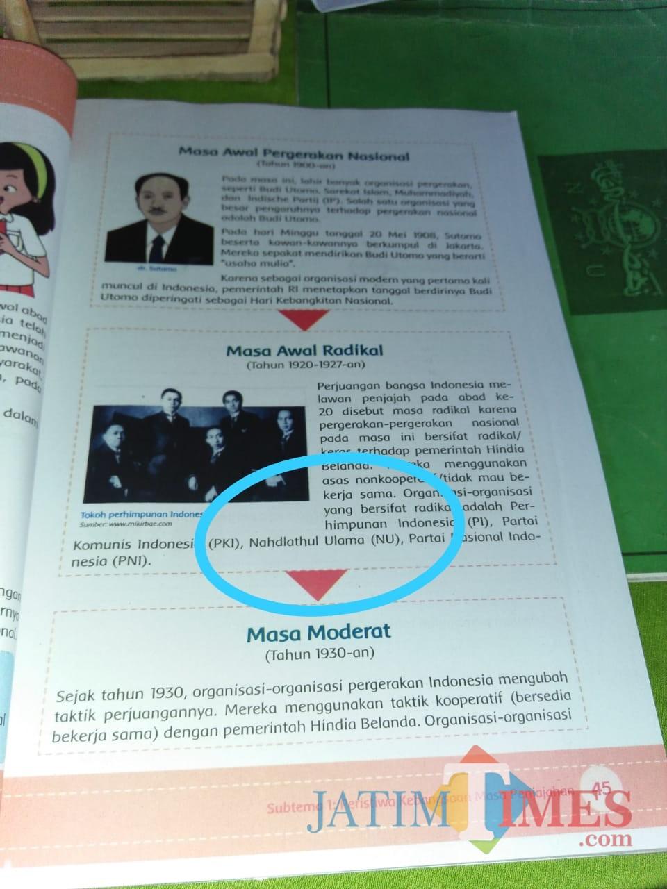 Buku panduan SD yang mencantumkan NU sebagai organisaai radikal (Nana)