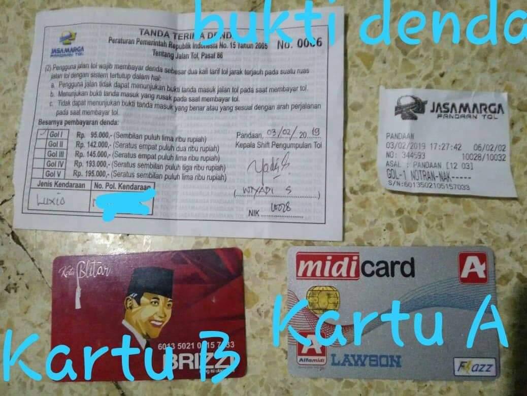 Bukti denda serta kartu e-toll milik akun Imam sar yang diupload di group FB (Ist)